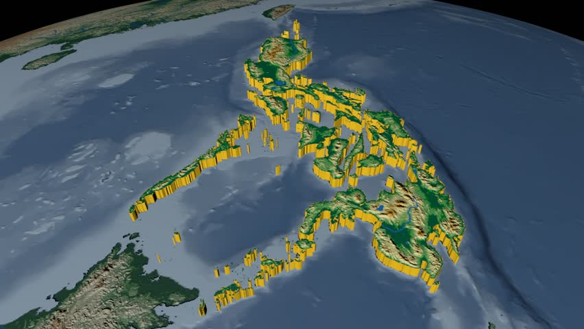 Philippines extruded on the world map with administrative borders philippines extruded on the world map rivers and lakes shapes added colored elevation and gumiabroncs Gallery