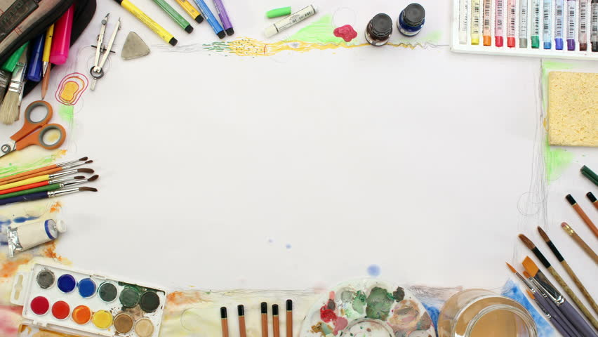 Artistic Frame with Art Supplies Stock Footage Video (100% Royalty-free)  8254657   Shutterstock