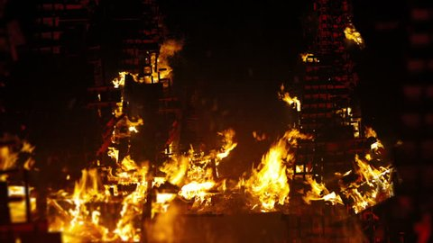 Burning city.