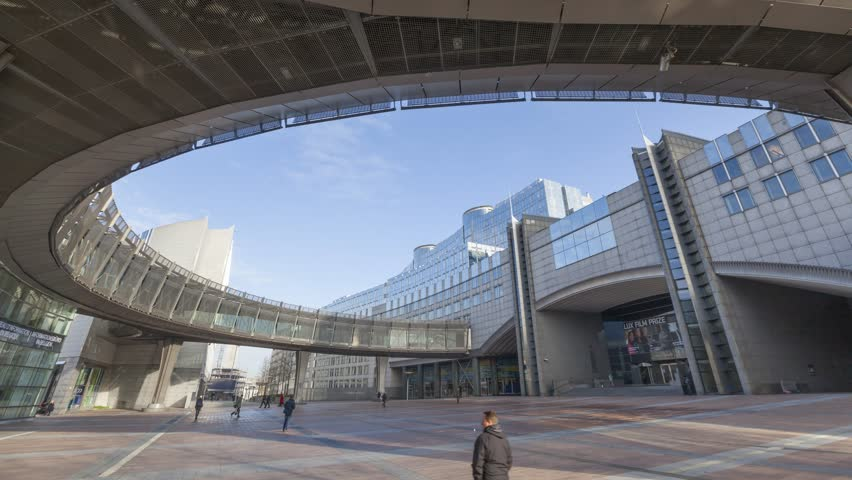 Brussels, Belgium - December 16 2014: Area beside the entrance to European Parliament, timelapse video