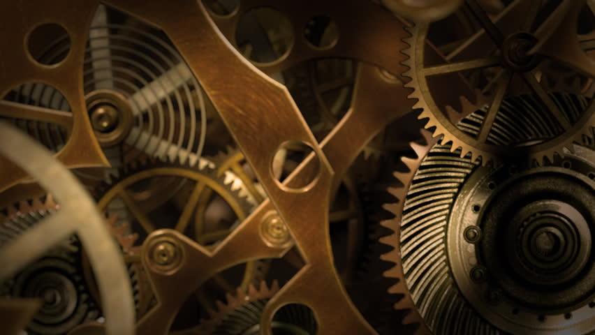Inside a clock, infinite zoom into the clockwork mechanism. A 3d animation. | Shutterstock HD Video #8265562