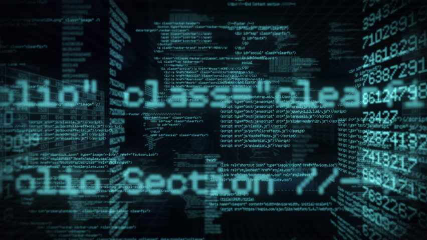 Computer code running in a virtual space. Loopable. Dark Blue. Dolly in.   MORE COLOR OPTIONS IN MY PORTFOLIO. | Shutterstock HD Video #8265757