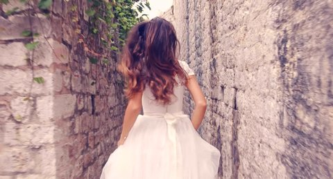 Dramatic Slow Motion Running Bride Princess Vintage Wedding Dress Medieval Fortress Castle Fairy Tale Sequence Dram Fantasy Beauty Concept Uhd 4K