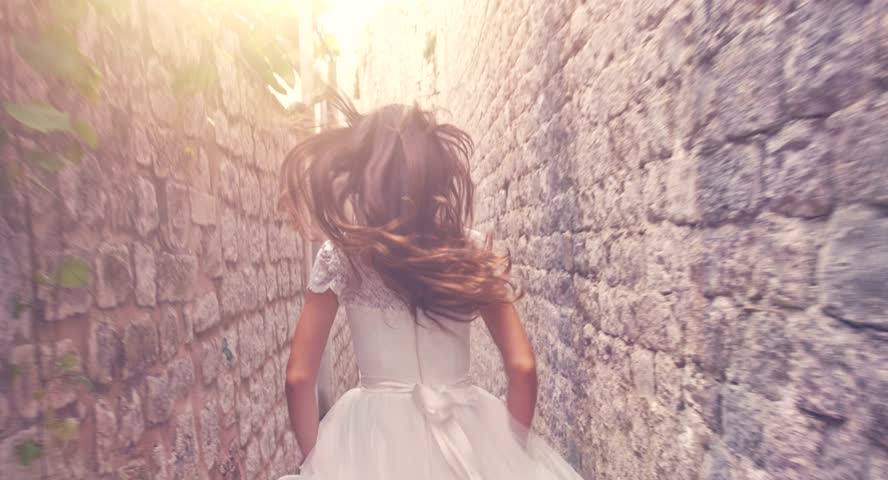 Dramatic Slow Motion Running Bride Princess Vintage Wedding Dress Medieval Fortress Castle Fairy Tale Sequence Dram Fantasy Beauty Concept Uhd 4K   Shutterstock HD Video #8314402