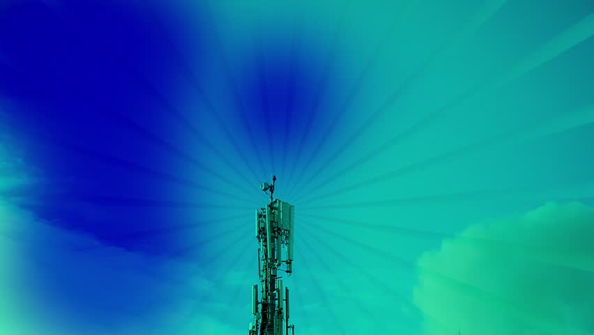Telecommunication tower with cloudscape time lapse, sending rays,abstract  | Shutterstock HD Video #8339227