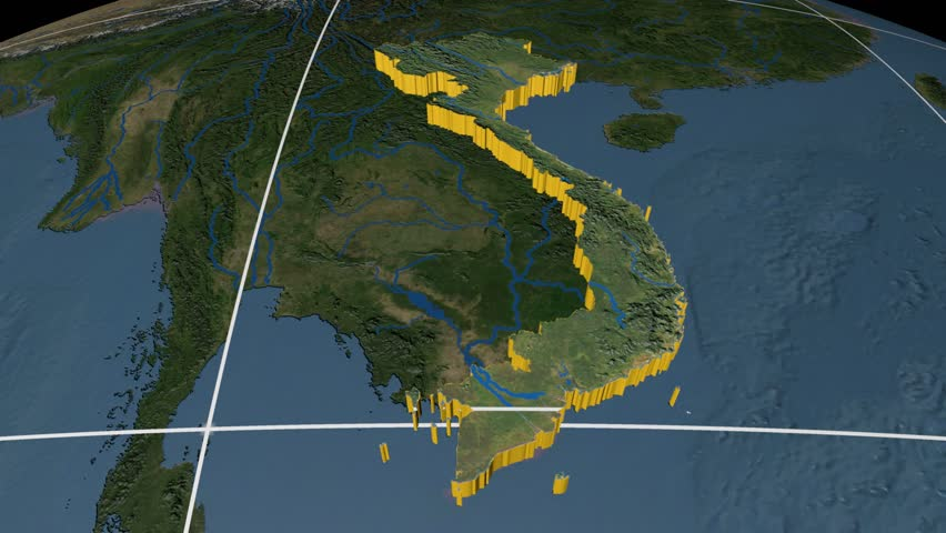 4k00 12vietnam Extruded On The World Map With Graticule Rivers And