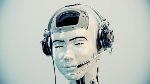 Cute smiling girl in call center with matte element / Futuristic robot girl with speakers