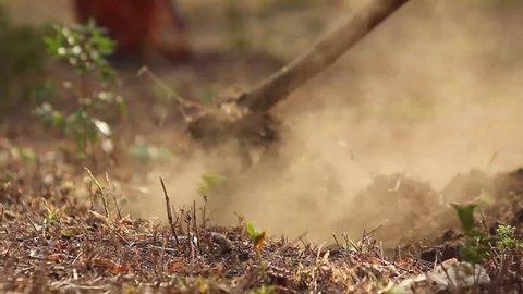African ladies manually ploughing a field in rural Uganda, Africa