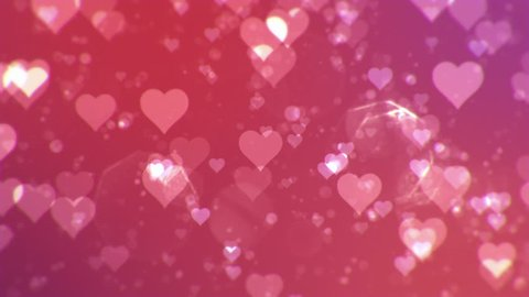 Valentine's day abstract background,flying hearts and particles.Loopable.