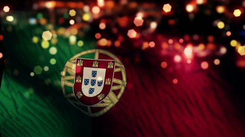 Portugal Flag Light Night Bokeh Abstract Loop Animation 4K Resolution UHD Ultra HD