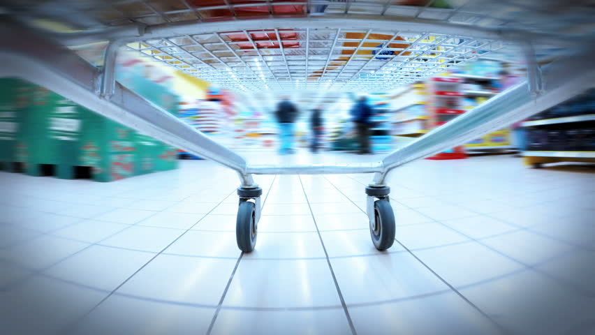 HD 4K+ (3840X2160) UHDTV: crazy fast speed of supermarket trolley | Shutterstock HD Video #8464927