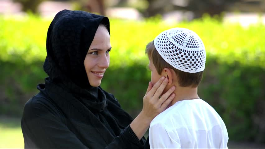 Arabic mother and son together.