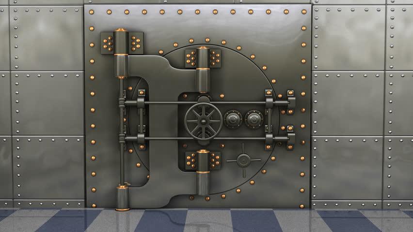 Bank Vault Door Opening And Camera Slowly Zooming In