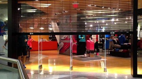Burnaby, BC, Canada - November 06, 2014 : Nika store closing down at night inside Metropolis shopping mall in Burnaby BC Canada.