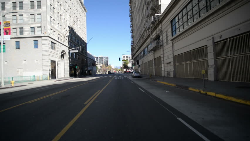 Driving Plates Los Angeles Downtown Morning CAM1 Front 27 Hill St North to 4th St East California USA | Shutterstock HD Video #8496277