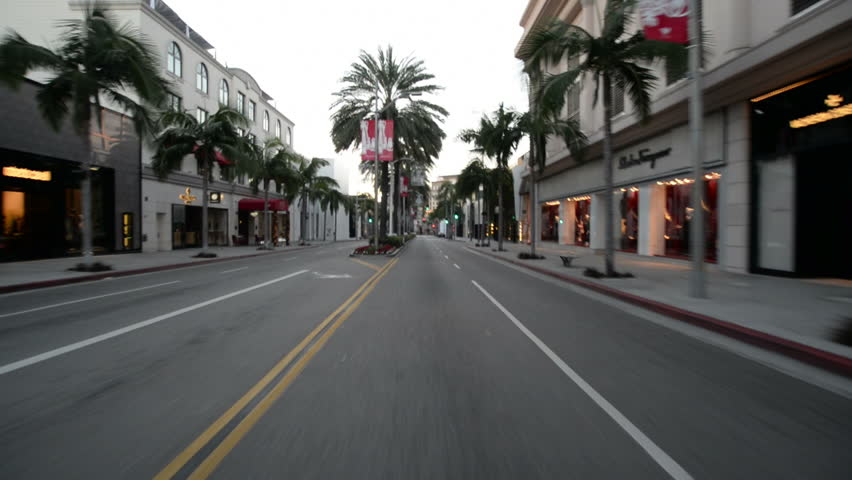 Driving Plates Beverly Hills Commercial Morning CAM1 Front 02 Rodeo Drive South California USA