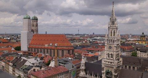 Pan Right Munich Skyline Establishing Shot Aerial View Panoramic City Panorama ( Ultra High Definition, UltraHD, Ultra HD, UHD, 4K, 2160P, 4096x2160 )