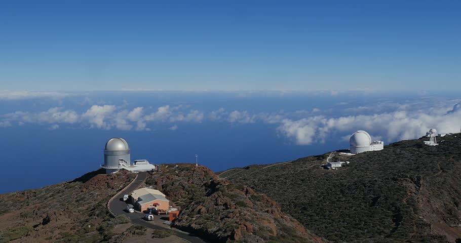 4k; Majestic view at Roque De Las Muchachos, La Palma Observatory #8507257