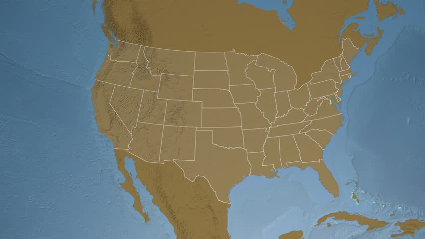 Usa Nebraska State Lincoln Extruded On The Elevation Map Of North America In