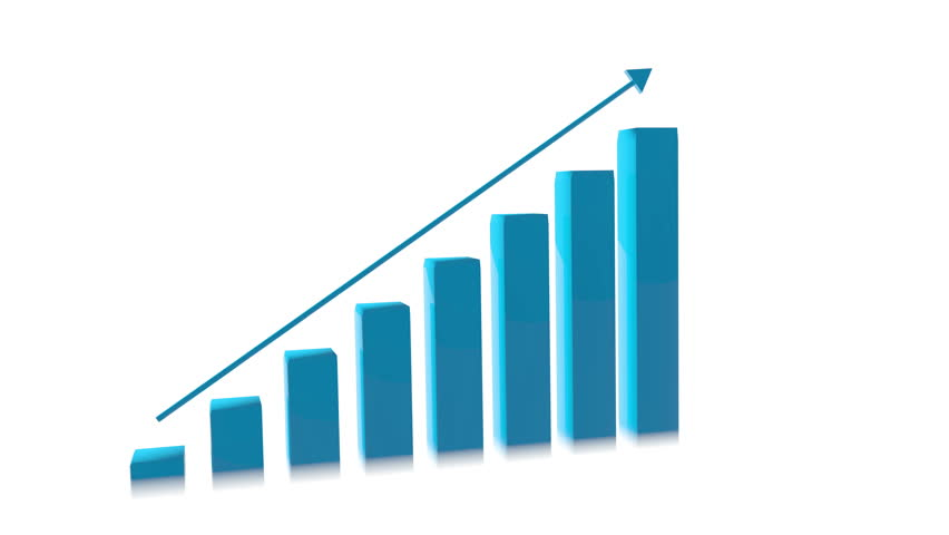 Animated Bar Graph Shows Upward Trend In Growth On A White