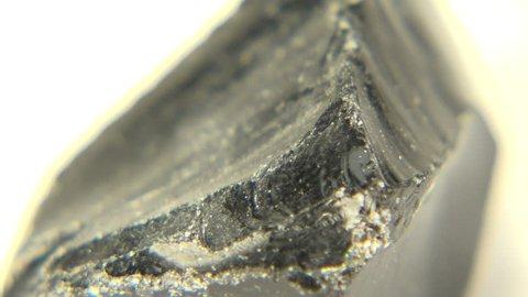 Obsidian Cut/ Close-up cut of obsidian rock from Casper, Wyoming, USA.