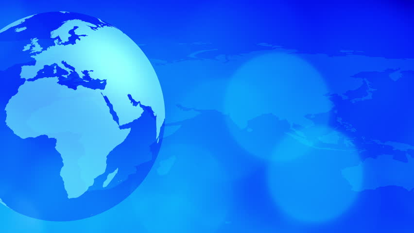 Blue world map and rotating globe motion background international blue world map and rotating globe motion background international business world presentation intro or breaking news backgrounds concept sciox Image collections