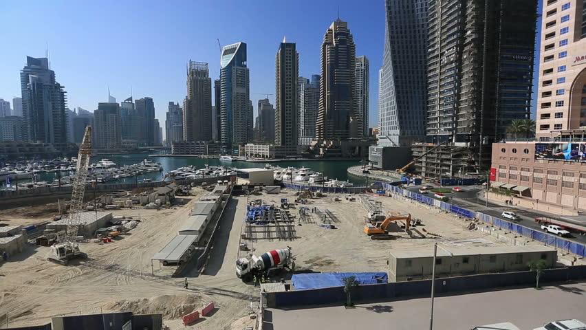 Ihram Kids For Sale Dubai: New Skyscraper Construction Zone With Heavy Equipment And