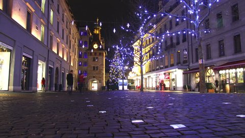 GENEVA – DECEMBER 2014 : Christmas in Geneva timelapse with tracking shot. Find similar in our portfolio.