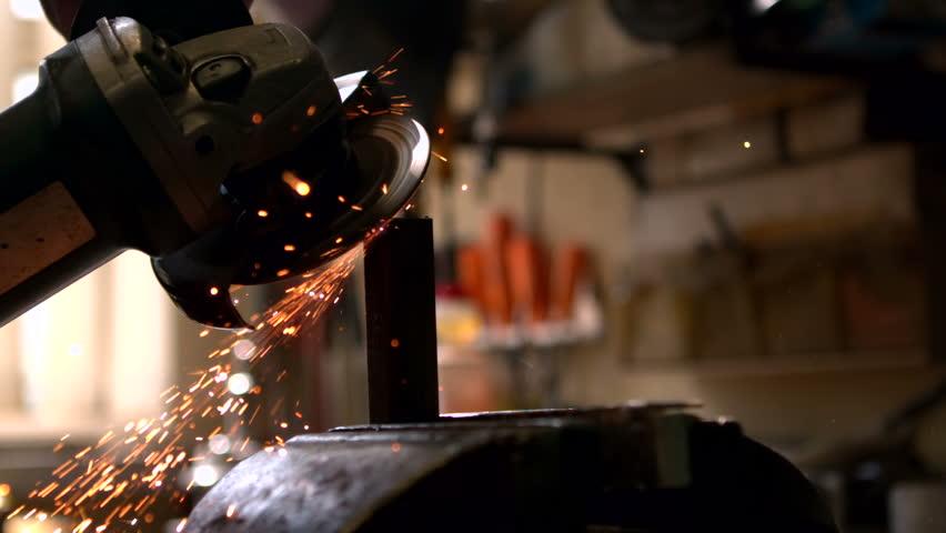 Engineering machine in metal workshop in slow motion | Shutterstock HD Video #8566027