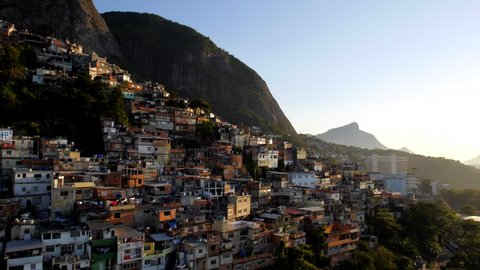 Aerial move into downtown central Rio de Janeiro Brasil at sunset