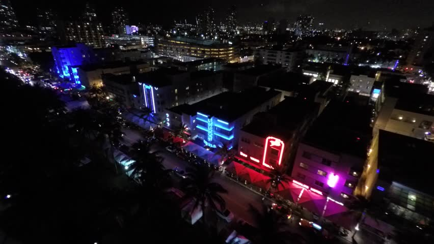 4K: Aerial video of Miami Beach at night