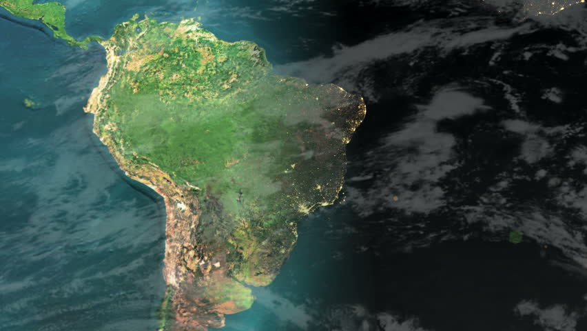 South America Time-lapse Day to Night (1080p HD Earth zoom)