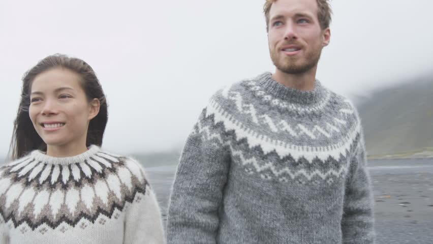 People On Iceland Wearing Icelandic Sweaters On Black Sand -5179