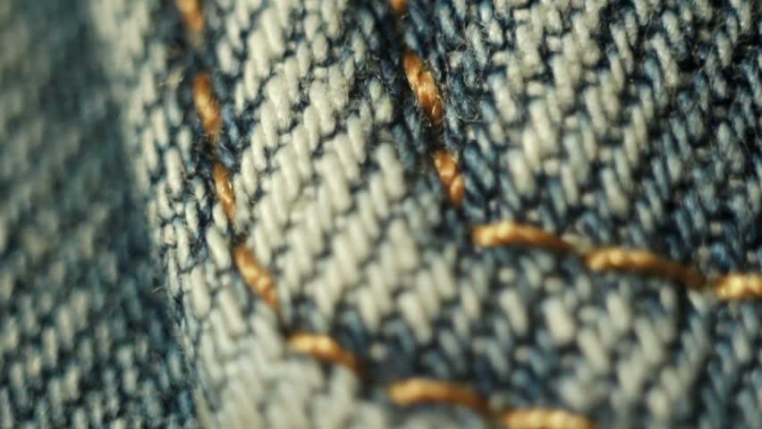 jeans stitch close up macro