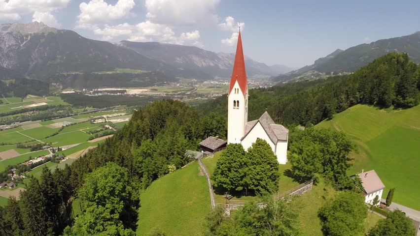 Flying around small Church on a Hill - Aerial Flight  #8619067