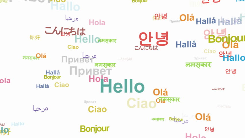 Hello in different languages - seamless looping, alpha included