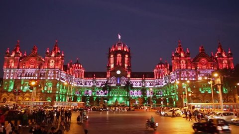 MUMBAI - CIRCA 2015 Chhatrapati Shivaji Terminus (CST) formerly Victoria Terminus in Mumbai,  is a UNESCO World Heritage Site and historic railway station with Indian tricolor lighting on Republic day