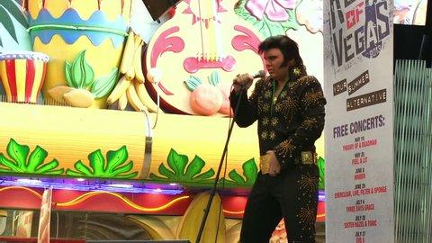 LAS VEGAS, NV - APRIL 22: Open air Elvis concert on Fremont Street on April 22, 2014 in Las Vegas, Nevada.
