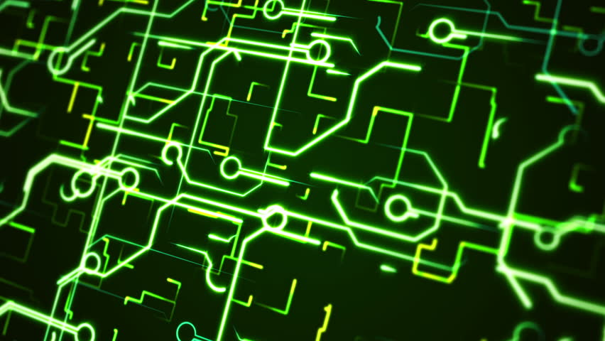 Computer circuit board green loopable background. Abstract chip and light lines. Technology abstract animation background. | Shutterstock HD Video #8667397