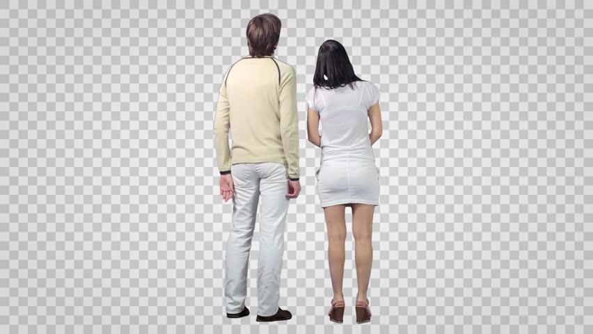 Male & girl standing and looking at something. Back view. Footage with alpha channel.