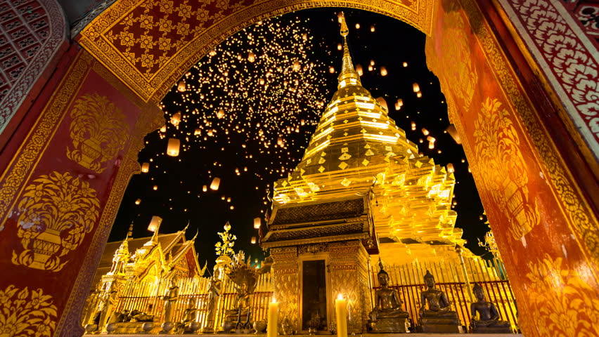Wat Phra That Doi Suthep And Many Sky Fire Lantern Background Famous Temple of Chiang Mai, Thailand