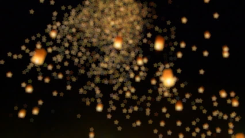 Many Bokeh Of Sky Fire Lanterns Floating In Sky (long shot) #8737597
