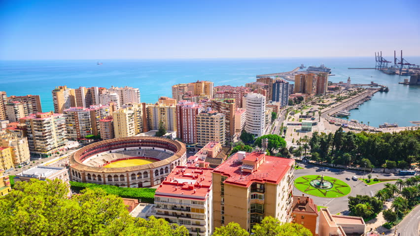 stock video clip of malaga spain downtown time lapse over plaza shutterstock. Black Bedroom Furniture Sets. Home Design Ideas