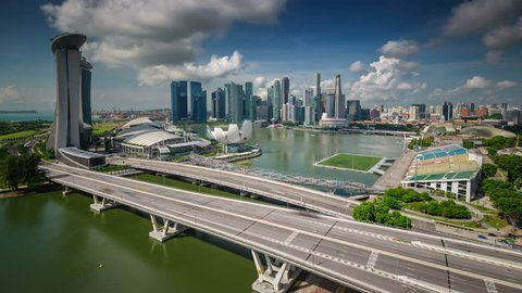 day sky panoramic view on singapore famous center 4k time lapse