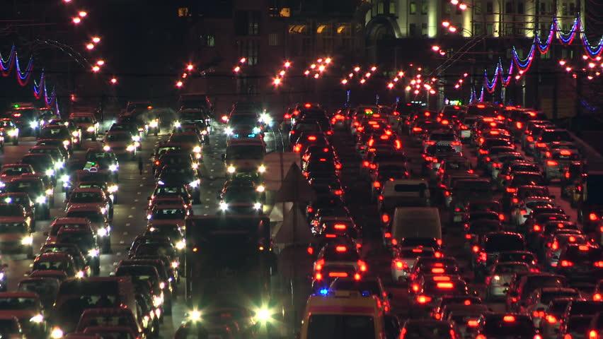 Moscow road traffic. Workday evening at Sadovoe koltso street. Close up