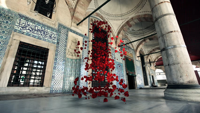 Vortix Rose Petals In Oriental Architecture / HD1080 / 30fps