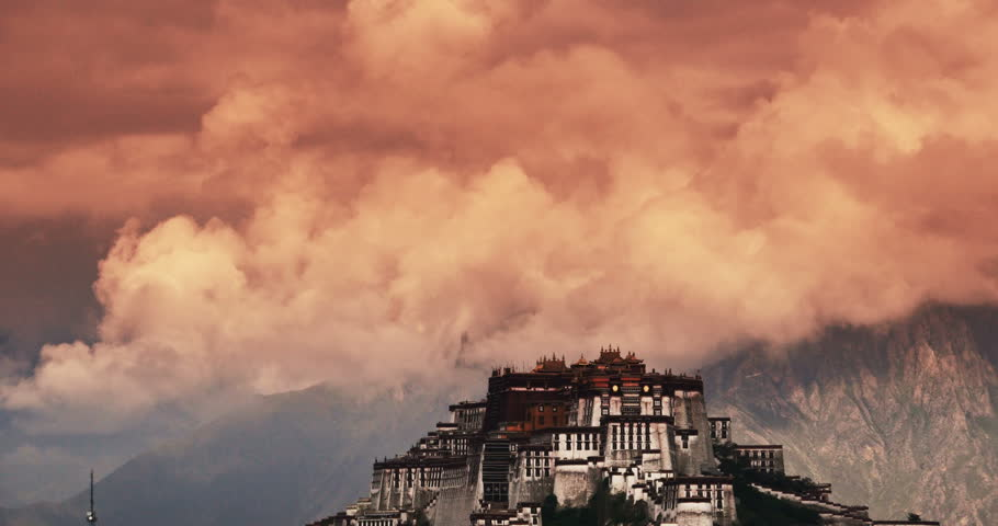 4k Potala Palace in the morning,Lhasa,Tibet. timelape clouds rolling over mountains. gh2_08733_4k