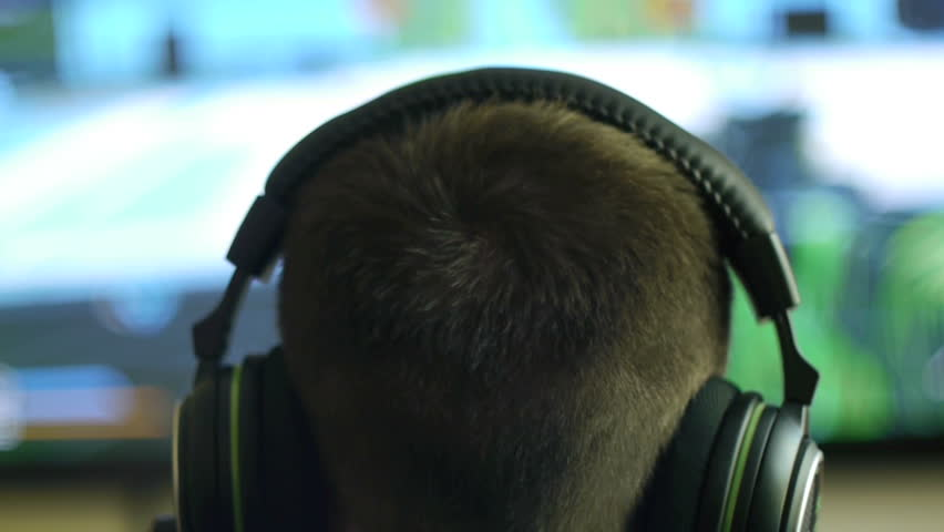 Gamer Immersed In Online Video Game
