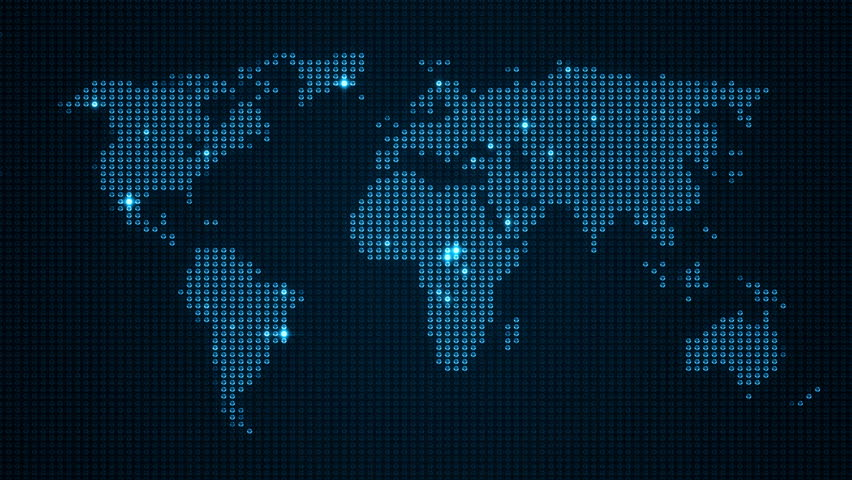 Stock Video Of Digital World Map In Led Screen