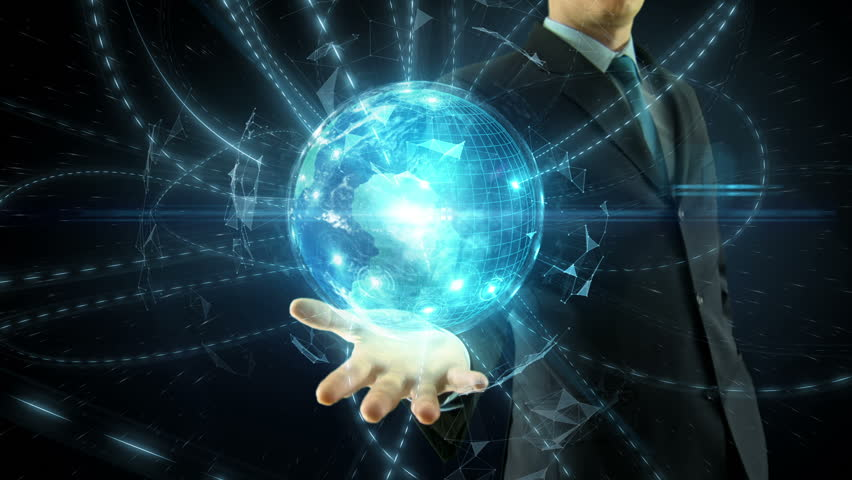 Businessman hold over hand animated global digital link social network media and internet network concept over space globe | Shutterstock HD Video #8865535